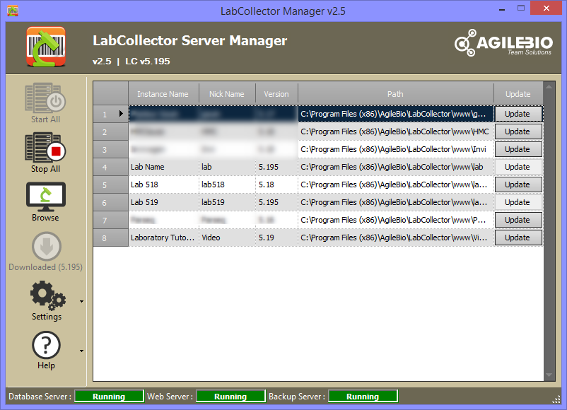 LabCollector Server Manager - LabCollector